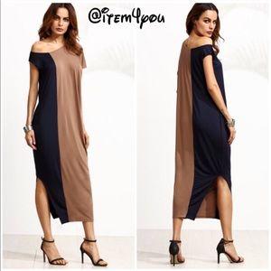 Dresses & Skirts - Two tone one shoulder color block split dress